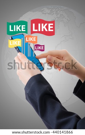 Hand Holding Mobile phone with Business icons and Technology icons for technology and business concept. - stock photo