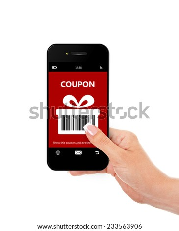 hand holding mobile phone with discount coupon isolated over white background - stock photo