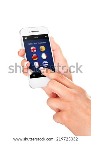 hand holding mobile phone with language learning application over white background - stock photo