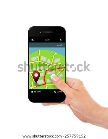 hand holding mobile phone with navigation application isolated over white background - stock photo