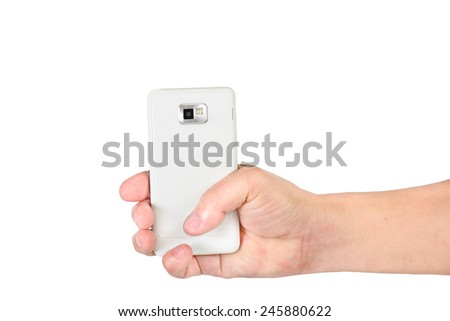 hand holding mobile smart phone isolated