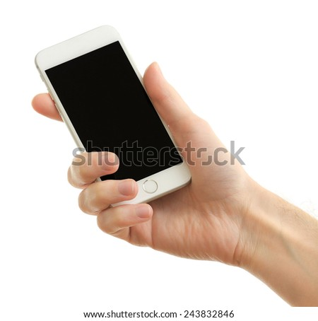 Hand holding mobile smart phone, isolated on white