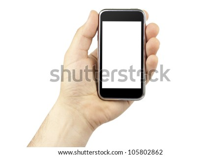 Hand holding mobile smart phone with blank screen isolated on white. - stock photo
