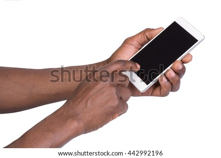 Hand holding mobile smart phone with blank screen. Isolated on white - stock photo