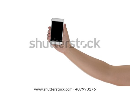 Hand holding mobile smart phone with blank screen. Isolated on white background