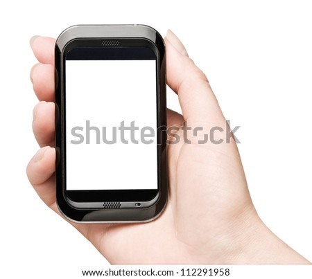 Hand holding mobile smart phone with blank stsreen isolated on white background