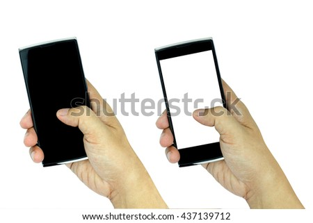 Hand holding modern smartphone with white and black screen isolated on white background.