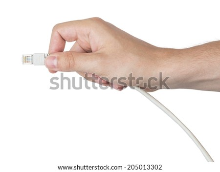 Hand holding network cable - stock photo