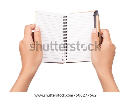 hand holding notebook with a pen isolated on white background