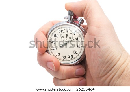 hand holding old mechanical stopwatch isolated on white