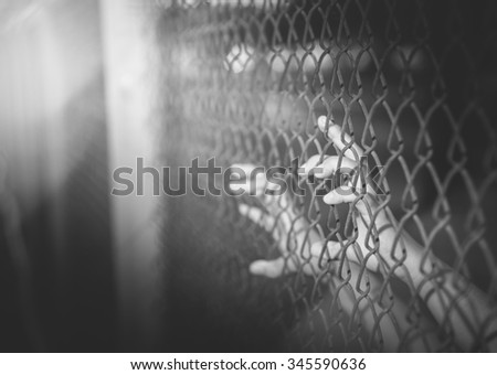 Hand holding on chain link fence , black and white - stock photo