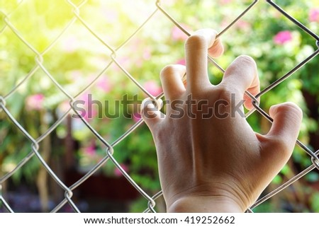 Hand holding on chain link fence over sunny light nature flower blur background, motivation or freedom concept - stock photo