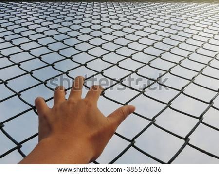 Hand holding on fence           - stock photo