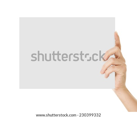 Hand holding paper isolated on white