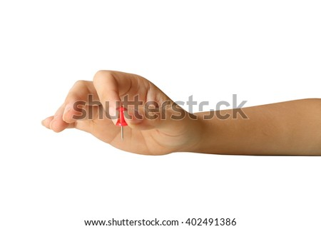 hand holding paper pin ,isolate white background