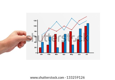 hand holding paper with graph of profit