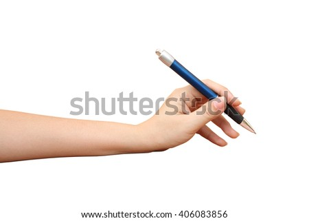hand holding pen ,isolate white background