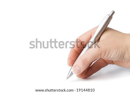 hand holding pen isolated