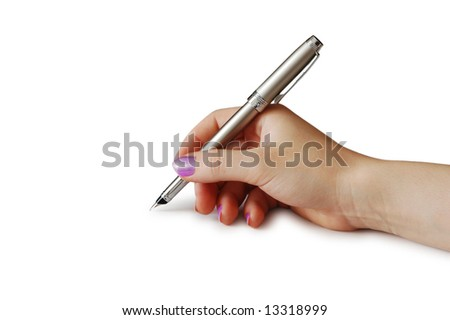 Hand holding pen isolated on white background
