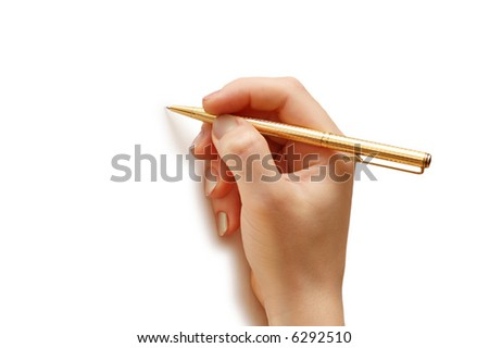 Hand holding pen  isolated on white background - more similar photos in my portfolio - stock photo