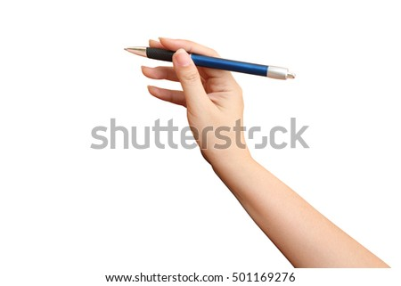hand holding pen ,isolated white background and saved clipping path