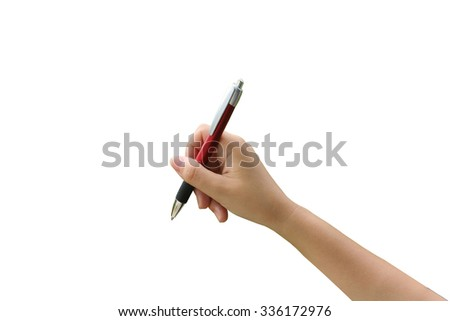 hand holding pen on white background