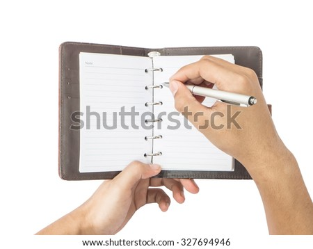 hand holding pen with blank notepad isolated on white background