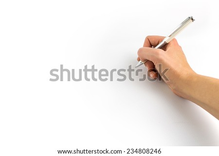 Hand holding pencil isolated on white background