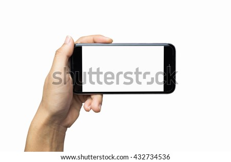 Hand holding phone blank screen. Woman hand holding iphon isolated on white background. black color smartphone white screen.