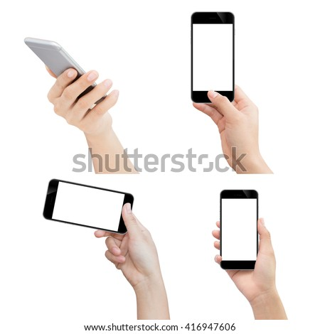 hand holding phone isolated with clipping path on white background - stock photo