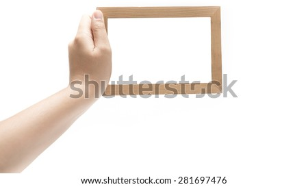 hand holding photo frame isolated on white background