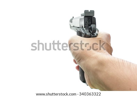 Hand holding pistol gun weapon isolated on white background - stock photo