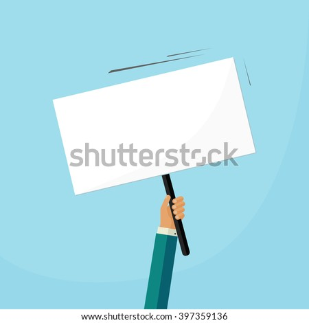 Hand holding placard with empty space for text, business man hand swinging board with handle illustration design isolated on blue background image