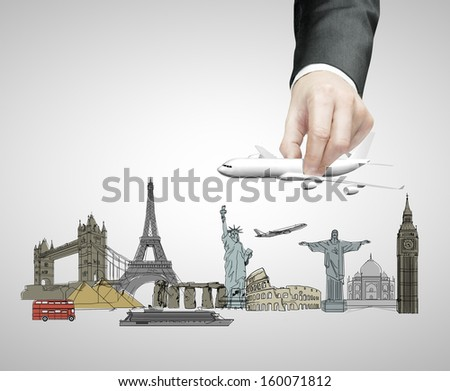 hand holding plane, travel concept