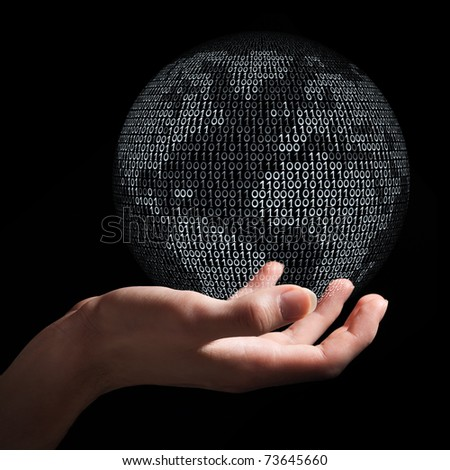 Hand holding planet Earth made from binary code as symbol of digital age, communication and globalization. - stock photo