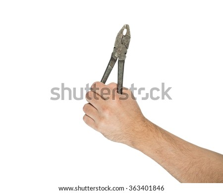 Hand holding  pliers isolated on white background. - stock photo