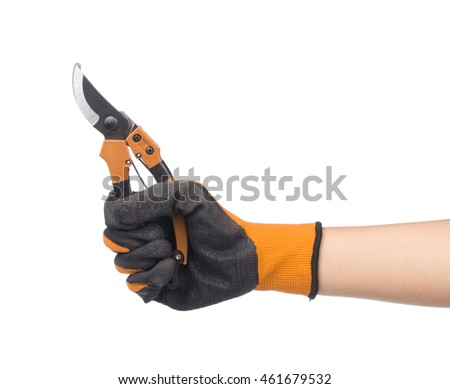 hand holding pruning shears isolated on white background