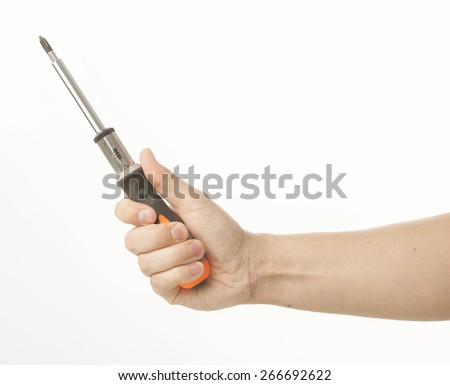 Hand holding ratchet screwdriver on white