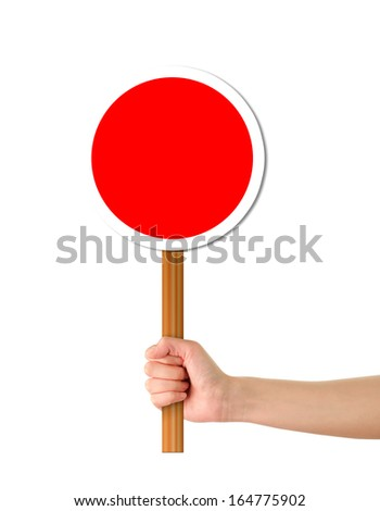 Hand holding Red alert sign/template - stock photo