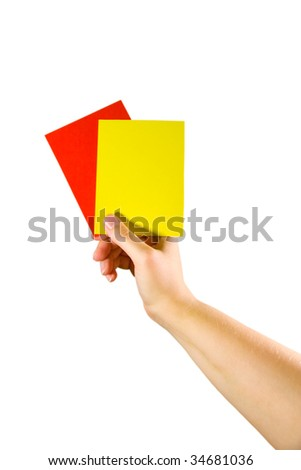 Hand holding red and yellow cards (isolated on white) - stock photo