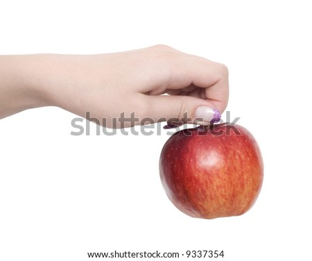 hand holding red apple isolated