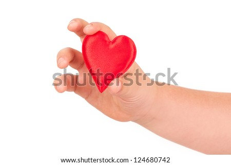 Hand holding red heart isolated on white background - stock photo