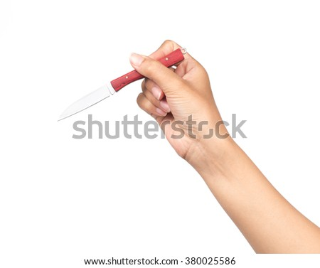 hand holding red knife Isolated on white background