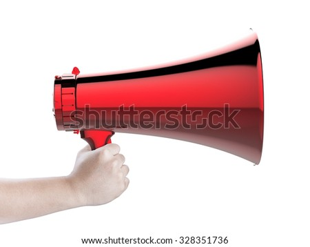 hand holding red megaphone isolated on white