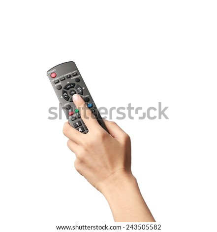 hand holding remote control - stock photo