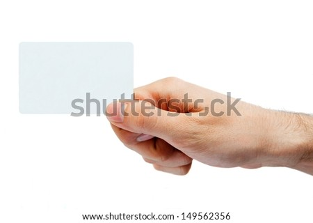 Hand holding retail or credit card. Isolated on white - stock photo