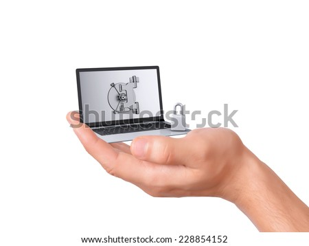 hand holding security Laptop. Data security concept on white background - stock photo