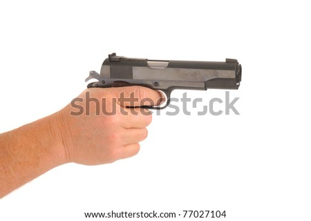hand holding semi-automatic pistol cocked ready to fire, isolated on white