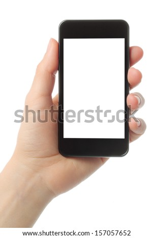 Hand holding smart phone isolated on white background   - stock photo
