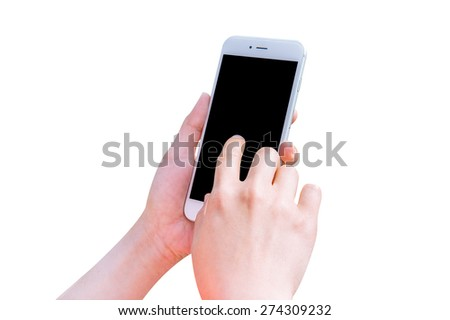 Hand holding smart phone isolated on white background. - stock photo